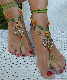 Sandali donna piede nudo Barefoot sandals cavigliera anklet Boho Bohemian Hippie Sexy feet bronzo matrimonio sposa mare spiaggia love peace di ItalianShopVintage su Etsy