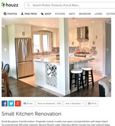 The Best Open Concept Kitchen Design Trends of 2018 Open concept kitchen- living room is perfect for small apartments but it also looks gorgeous in big spaces when the kitchen is connected with the dining room - March 24 2019 at Home Remodeling, Home Renovation, Small House Renovation, Small Kitchen Renovations, Kitchen Remodelling, Small Bungalow, Bungalow Decor, Bungalow Designs, Bungalow Ideas