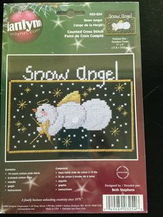 Cross Stitch Kit  'SNOW ANGEL' Christmas 2002 Vintage Janlynn #Janlynn #Frame