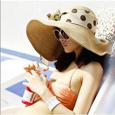 Women Casual Summer Linen/Straw Beach Casual Floppy Straw Sun Hat with Ribbon – USD $ 16.99