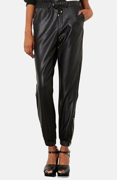 Faux leather sweatpants?  Yes please! Topshop Faux Leather Track Pants available at #Nordstrom