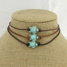 Turtle turquoise choker, tortoise bead leather choker necklace, brown leather…