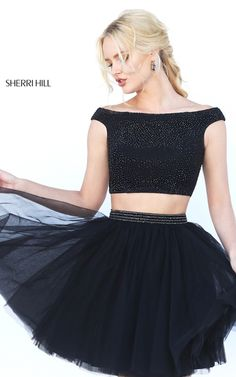 Black A Line Two Piece Sherri Hill 50497 Short Tulle Two Piece Prom Dress