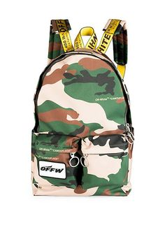 Off-White Camouflage Backpack (Textured Material) Camouflage Backpack, White Backpack, Men's Backpack, Urban Gear, Kids Bags, Business Card Holders, Cool Items, Off White, Bag Pack