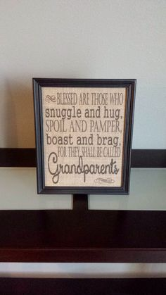 Burlap Print - Blessed Are Grandparents - Gift for Grandma and Grandpa - Family - Christmas - Announce Pregnancy - 8.5 x 11 - Burlap ONLY by DideschDelights on Etsy https://www.etsy.com/listing/176256038/burlap-print-blessed-are-grandparents