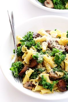 This delicious Pasta with Italian Sausage, Kale and Mushrooms is full of big savory flavors, it's easy to prepare, and can be made vegetarian if you'd like!