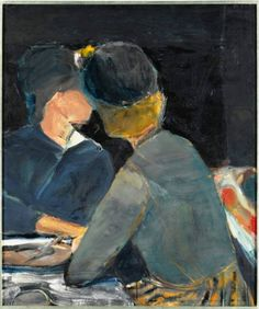 Two women at table (1963), oil on canvas by Richard Diebenkorn - (1922-1993), American - His early work is associated with abstract expressionism and the Bay Area Figurative Movement of the 1950s and 1960s (wiki - colin-vian)