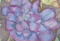 Succulent Painting - Purple Succulent by Marcy Brennan