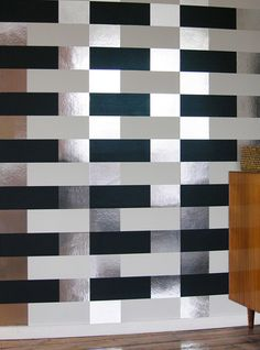 Block by Erica Wakerly - Black White Silver - Wallpaper : Wallpaper Direct Glam Wallpaper, Cover Wallpaper, Metallic Wallpaper, Stripe Wallpaper, Geometric Wallpaper Design, Modern Wallpaper Designs, Designer Wallpaper, Animal Print Wallpaper, Graphic Wallpaper