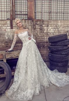 pnina tornai 2019 love bridal long sleeves off the shoulder straight across neckline full embellishment romantic modified a line wedding dress sheer lace back sweep train (3) mv -- Pnina Tornai 2019 Wedding Dresses | Wedding Inspirasi #wedding #weddings #bridal #weddingdress #bride ~