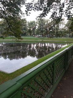 Summer garden lake in St . Petersburg russia