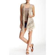 Jolt Crochet & Lace Boho Vest ($27) ❤ liked on Polyvore featuring outerwear, vests, bone, bohemian vest, white vest, white waistcoat, boho vest and sleeveless draped vest