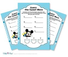 Boy Mickey Mouse Dirty Diaper Game Guess by adlyowlpartyprints