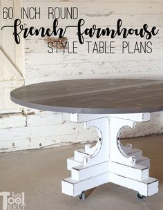60 Inch Round Table French Farmhouse Style - Her Tool Belt - - Build a 60 inch round table in french farmhouse style with a center pedestal. This table is made from readily available lumber at Home Depot, free plans. Diy Furniture Table, Diy Furniture Plans, Farmhouse Furniture, Diy Table, Craftsman Furniture, Furniture Buyers, Furniture Dolly, Farmhouse Interior, Small Furniture