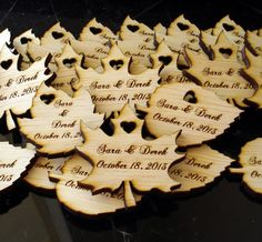 Use as escort cards & guests can take home as favors! Perhaps put the guest name on the other side for them - use as a place saver and a thank you gift. 60 Wood Leaf Wedding Favors Personalized Wood by EtchedinTimeLLC Candy Wedding Favors, Rustic Wedding Favors, Fall Wedding Decorations, Personalized Wedding Favors, Wedding Favors For Guests, Wedding Gifts, Our Wedding, Summer Wedding, Dream Wedding