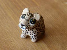 Tiny jaguar - Handmade miniature polymer clay animal figure