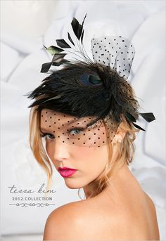 Welcome to day 2 of our Big Summer Bridal Giveaway. Today we have the incredibly talented Tessa Kim. How incredibly lovely is her work? We love Tessa Kim who specializes in vintage inspired wedding birdcage veils and bridal accessories. Sombreros Fascinator, Fascinator Hats, Hair Fascinators, Black Fascinator, Bridal Headpieces, Hat Hairstyles, Wedding Hairstyles, Frontal Hairstyles, Spring Racing Carnival