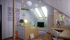 attic bedroom idea. Bed as a couch!