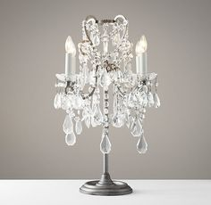 Manor Court Crystal Table Lamp Aged Pewter