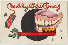 "Happy Holidays ""Plate O Dent"" denture toothpaste Ad"