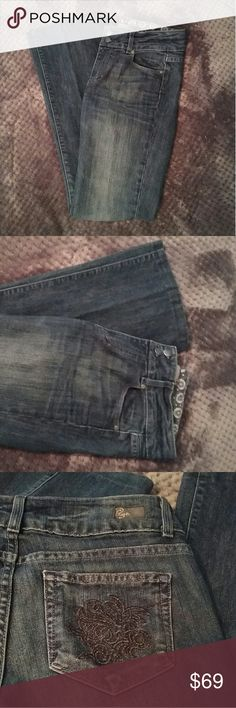 Paige jeans hidden hills boot cut size 28 Like new with beautiful back pocket design  In perfect condition Waist across 15.5in Inseam 29.5 Paige Jeans Jeans Boot Cut