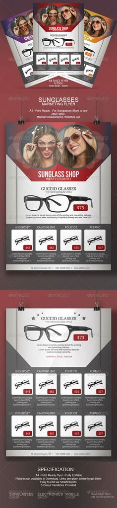 Sunglasses Flyer Template Do you have a sunglasses store or are you an optician selling glasses? Do you sell the best designer sunglasses in town? Keep your clients informed about your new galleries or sales. Advertise your business using this swiss Sunglasses