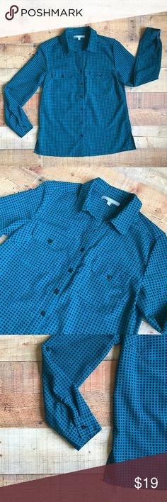 """NY Collection Square Patterned Button Down Gently used bright blue and black button down. Please note this is a petite. There are two front pockets and spilt sides. Lightweight and v-neck style shirt. The sleeves can be rolled up and buttoned. Measurements are 25"""" Long, 18 NY Collection Tops Button Down Shirts"""