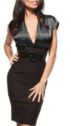 FITTED CAREER WOMAN COCKTAIL HIGH WAIST PENCIL SATIN DRESS WITH BELT Hot from Hollywood  Love fashion? FollowFashonLove! Everyone Loves fash...