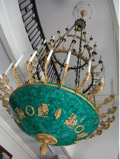 A monumental custom chandelier of gilt bronze and semiprecious malachite. The State Hermitage Museum in St. Petersburg, Russia.