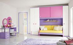 50 Wonderful Children Bedroom Design Ideas: 50 Wonderful Children Bedroom Design Ideas With  Yellow Bed And Purple And Pink Wardrobe Design