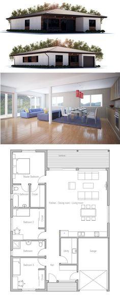 Plan habillé Rez-de-chaussée - maison - Maison contemporaine de - maisons plain pied plans gratuits