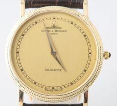 Men's Vintage Φ Baume & Mercier 14k Yellow Gold Quartz Watch Black Leather Band #BaumeMercier #Dress