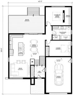 Plan de maison Ë_115 | Leguë Architecture Green Pond, Bungalow Floor Plans, First Story, Dream House Plans, Cabin, Flooring, How To Plan, Home, House Ideas