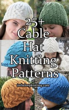 Cable Hat Knitting Patterns. Most patterns are free. Lots of great patterns on here!