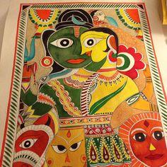 """Madhubani """"Ardhanareshwar"""" - Artist Priyanka Bansal"""