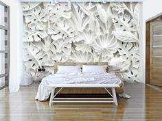 Zjawiskowa biała fototapeta 3D. W skandynawskim stylu - zamrożony w alabastrze las egzotycznych liści. Biała dekoracja na ścianę. Pomysł na białe wnętrze.