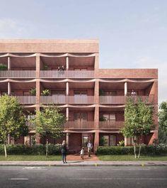 Hotel Architecture, Residential Architecture, Architecture Design, Exterior Rendering, Building Facade, Facade Design, Shophouse, Collagen, Social Housing Architecture