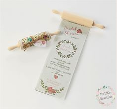 Floral rolling pin invitation- Bridal Shower - Kitchen Tea - Weddings These invitations are super cute. Custom designs available too.