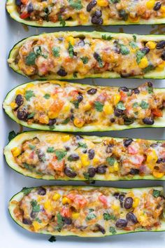 Mexican Zucchini Burrito Boats- a simple meatless meal packed with Mexican flavor! #vegetarian #cleaneating