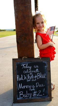 4th of July Pregnancy Announcement  2nd Pregnancy Announcement   http://www.mamasandmakeup.com/?p=62
