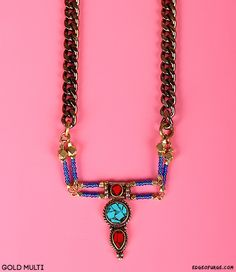 Sweet Antiquity Turquoise and Bead Necklace in Gold Multi Handmade by Vanessa Mooney