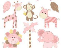 Pink Baby Safari clipart set comes with 8 cute graphics including: a pink giraffe, a cute monkey with a banana, a pink striped zebra, a pink Safari Clipart, Cute Clipart, Pink Animals, Jungle Animals, Digital Scrapbook Paper, Baby Scrapbook, Pink Giraffe, Patch Aplique, Cute Monkey
