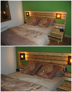 Pallet Bed & Headboard The natural atmosphere for this bed and headboard made from recycled pallets.