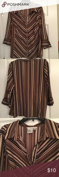 Fred David brown striped 2x blouse. Fred David Polyester and spandex 3/4 sleeve blouse. The shorts has been barely worn and will look super cute with brown slacks. Priced to sale. Fred David Tops Blouses