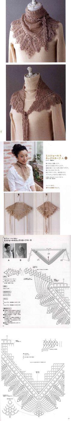 Craft Accessories, Crochet Accessories, Cowls, Crochet Shawl, Scarfs, Triangle, Crochet Patterns, Stitch, Knitting