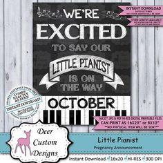 This NOVEMBER little pianist printable chalkboard pregnancy announcement poster or baby reveal photo Chalkboard Pregnancy, Pregnancy Signs, October Pregnancy Announcement, Pregnancy Announcements, Baby Reveal Photos, Infertility Counseling, Beautiful Babies, Photo Props, New Baby Products