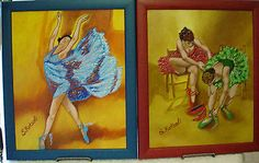 """Two Original Ballerina Paintings Framed and Signed 11"""" x 13.5""""  by S. Kotsali"""
