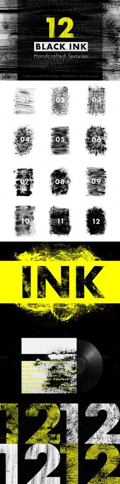 12 BLACK INK Handcrafted Textures. Textures. $8.00