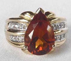 Stunning Laura Ramsey Designer 14k Gold 3 75 Ct Madeira Citrine Diamond Ring SZ5   eBay