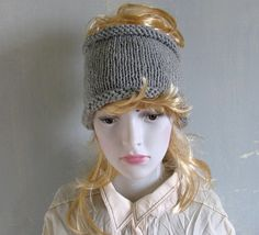 Plain dreadlock tube hat Mens knit headband, wide hair accessory mens taupe hair wrap, dreadlocks cover up, spring summer accessory